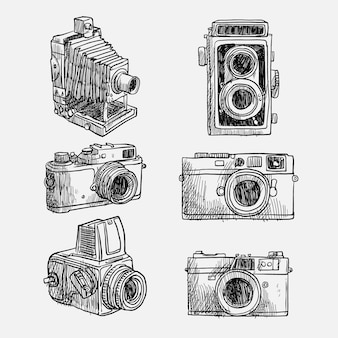 Kinds of hand drawn vintage cameras