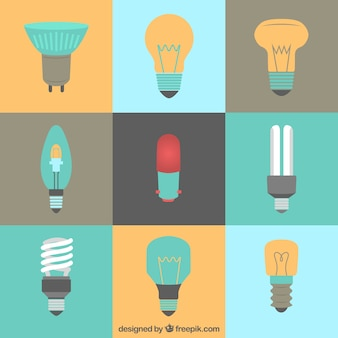 Kinds of lightbulbs in flat style