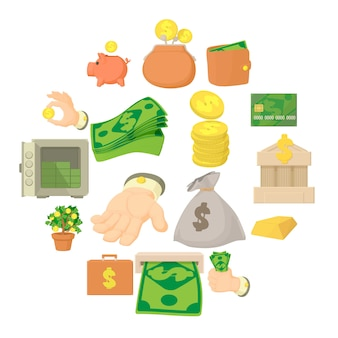 Kinds of money icon set, cartoon style