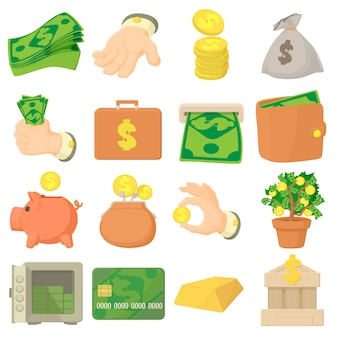Kinds of money icons set