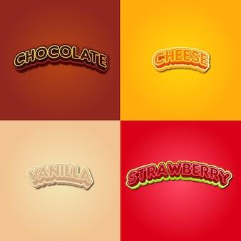 種類の食品風味セットタイポグラフィ