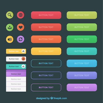 Kinds of web buttons in colors
