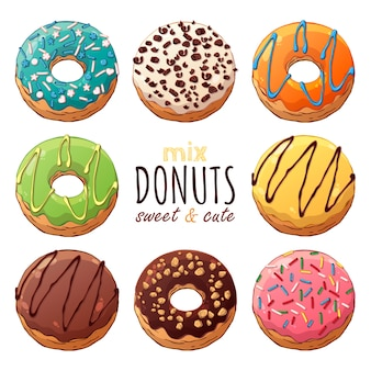 Kinds of vector donuts decorated with toppings