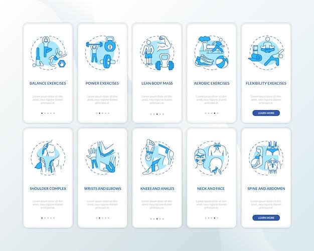 개념이 설정된 모바일 앱 페이지 화면 탑승에 운동 요법 파란색.