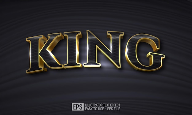 King 3d text editable style effect template