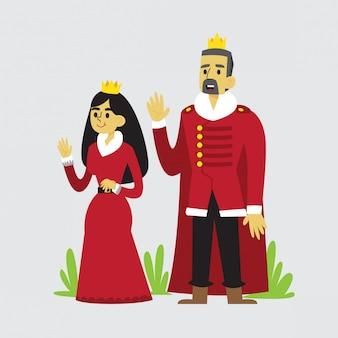 왕과 왕비 만화 디자인