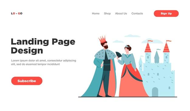 Король и королева, стоящие перед замком с плоской векторной иллюстрацией целевой страницы