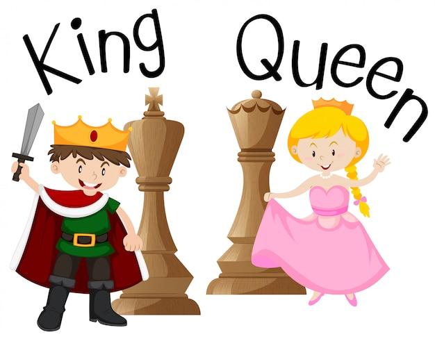 Король и королева с шахматной игрой Premium векторы