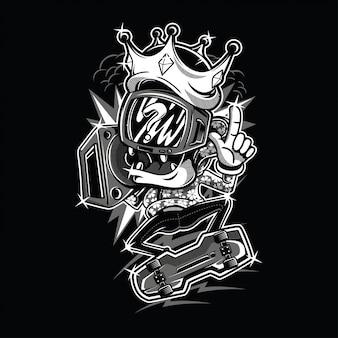 The king black and white illustration