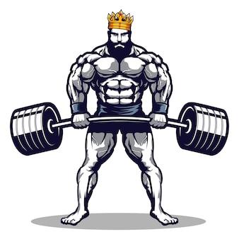 Король бодибилдинга и логотип спортзала