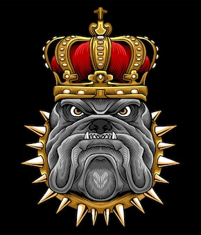 King bulldog crown illustration