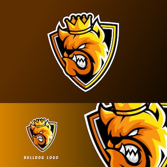 King bulldog dog animal esport gaming mascot logo template