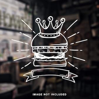 King burger grill vintage illustration white line