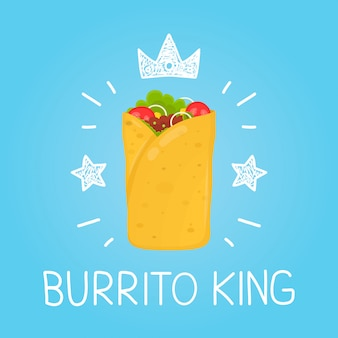 King burrito.  cartoon flat and doodle fun isolated  illustration. crown and stars icon. burrito cafe,  meal, delivery, fast food