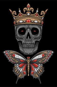 왕 나비 해골 그림 벡터