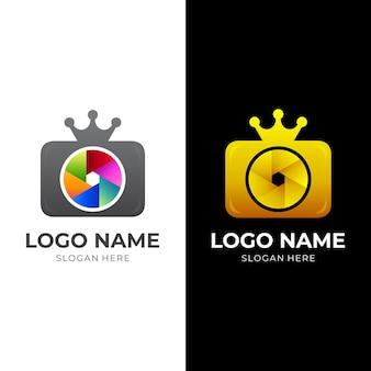 킹 카메라 로고, 카메라 및 크라운, 3d 다채로운 스타일의 로고 조합
