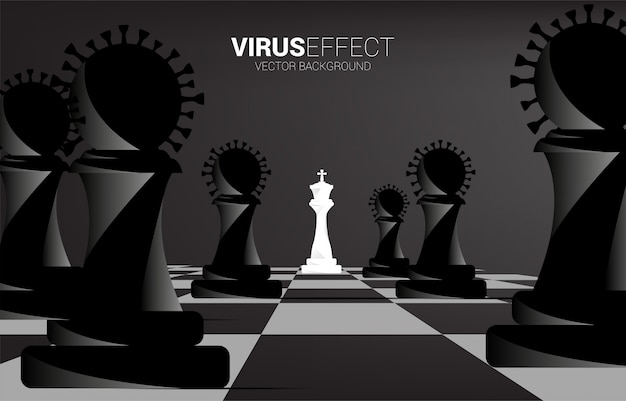 King chess around with virus chess piece. concept of business corona virus effect