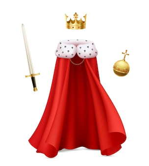 King cloak composition with realistic image of monarch gown with red royal robe sceptre and ball