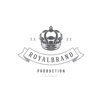 King crown emblem template with typography.