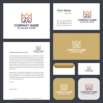 King crown logo and business card premium vector