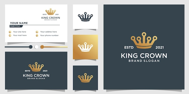 King crown logo template with unique golden style and business card design