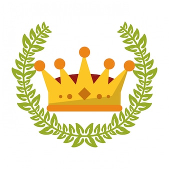King crown with wreath leaves