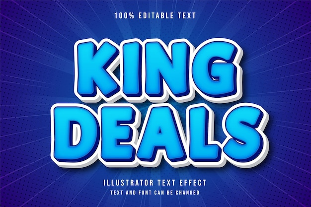 King deals,3d editable text effect blue modern comic style