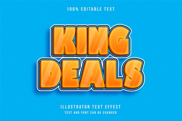 King deals, 3d editable text effect modern orange gradation blue text style