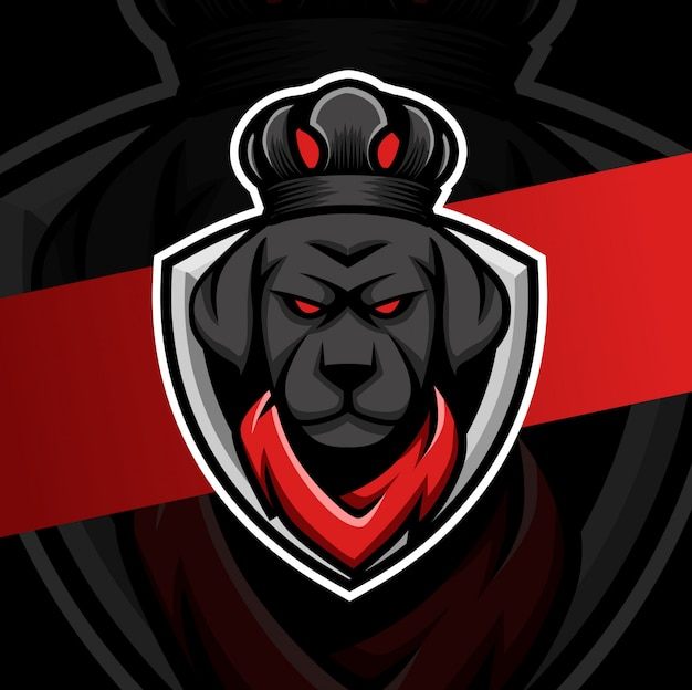 King dog  with crown mascot esport logo design