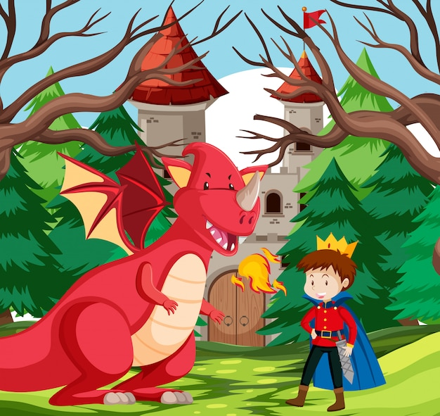 A king and dragon at castle