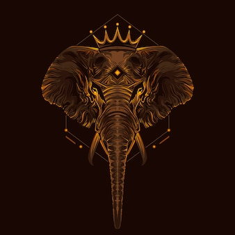 King of elephants art illustration