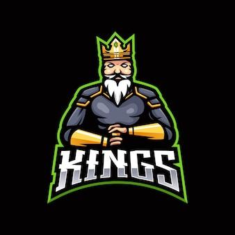 킹 esport 마스코트 로고 디자인.