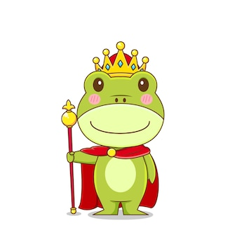 King frog character isolated