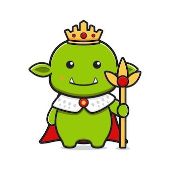 Король гоблин талисман мультфильм значок векторные иллюстрации. дизайн изолированные плоский мультяшном стиле