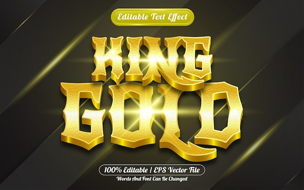 King gold 3d editable text effect template style