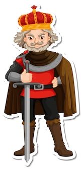 Adesivo personaggio dei cartoni animati re con spada