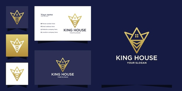 King house logo with line art concept icon and business card