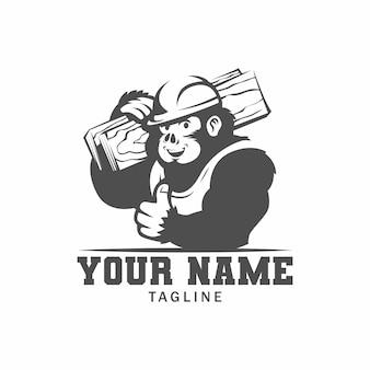 Кинг конг строительство черно-белый логотип. иллюстрация