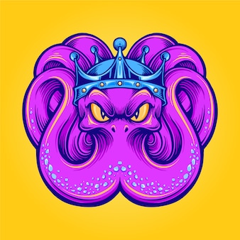 King kraken mascot octopus with crown illustrations for logo and merchandise clothing line
