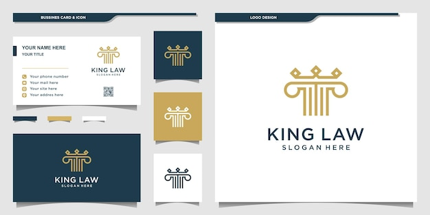 King law logo with modern style, business card design