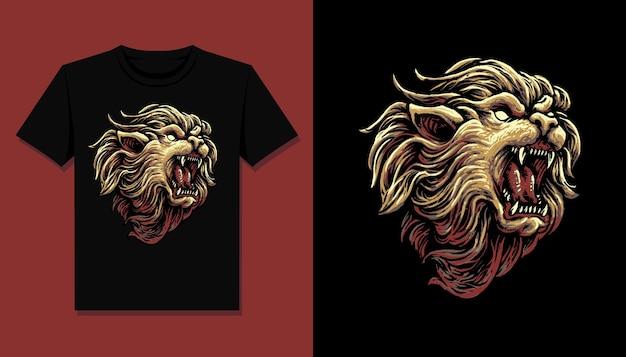 T 셔츠 디자인을위한 왕 사자 머리