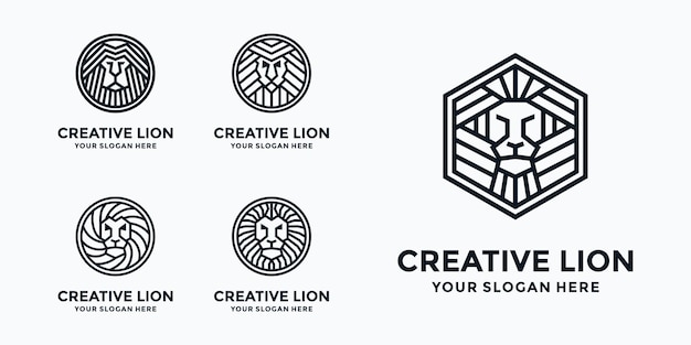 King lion logo template collection