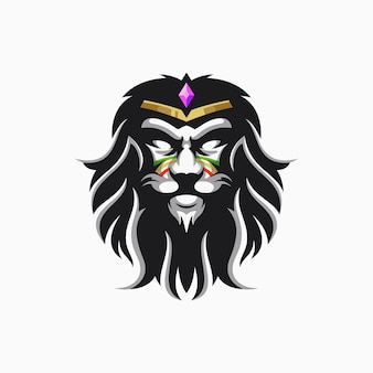King lion logo with vector bro