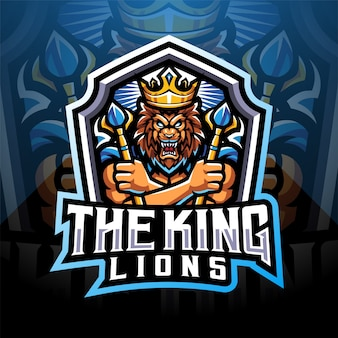 The king lions esport mascot logo design