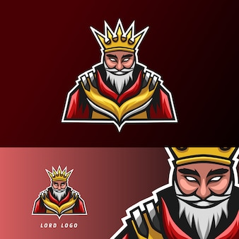 King lord sport esport logo design template with armor, crown, beard and thick mustache