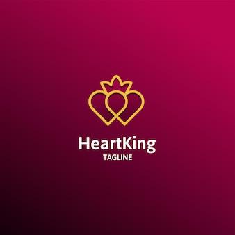 King of love flat line vector logo concept