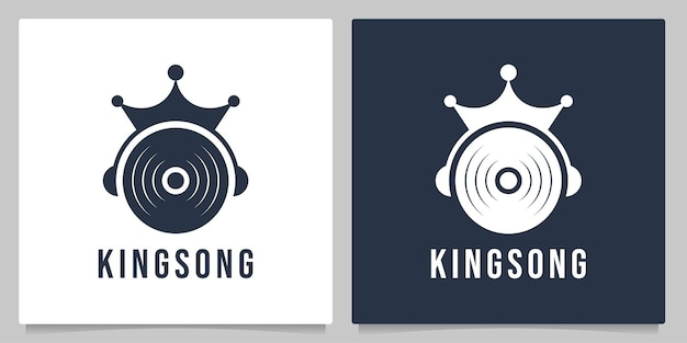 King of music with crown and disc logo design graphic concepts