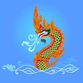 King naga big snake in thai traditional art