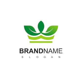 King of nature logo with leaf crown symbol