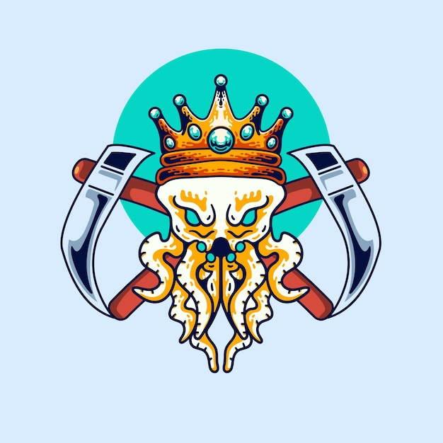 The king octopus illustration vintage modern style for t-shirt